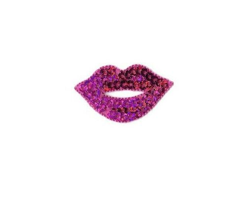 10pc Small Silver Sequin Lips Embroidered Iron On Fashion Patch DIY Jacket