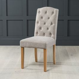 Highgrove Oatmeal Fabric Dining Chair With Solid Oak Leg Fabric