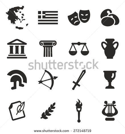Greece Icons Greece Map Icon Set Vector Icon