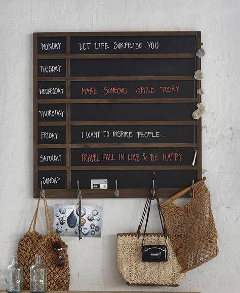 Wooden Weekly Planner Blackboard With Hooks In 2020 Blackboards