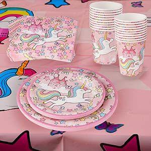 Unicorn Juego De Vajilla Chicas Cumpleaños De Papel Servilletas Tazas Platos Manteles