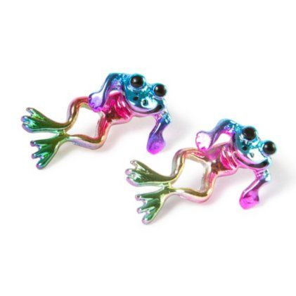 Rainbow Metallic Frog Front and Back Earrings from Claires