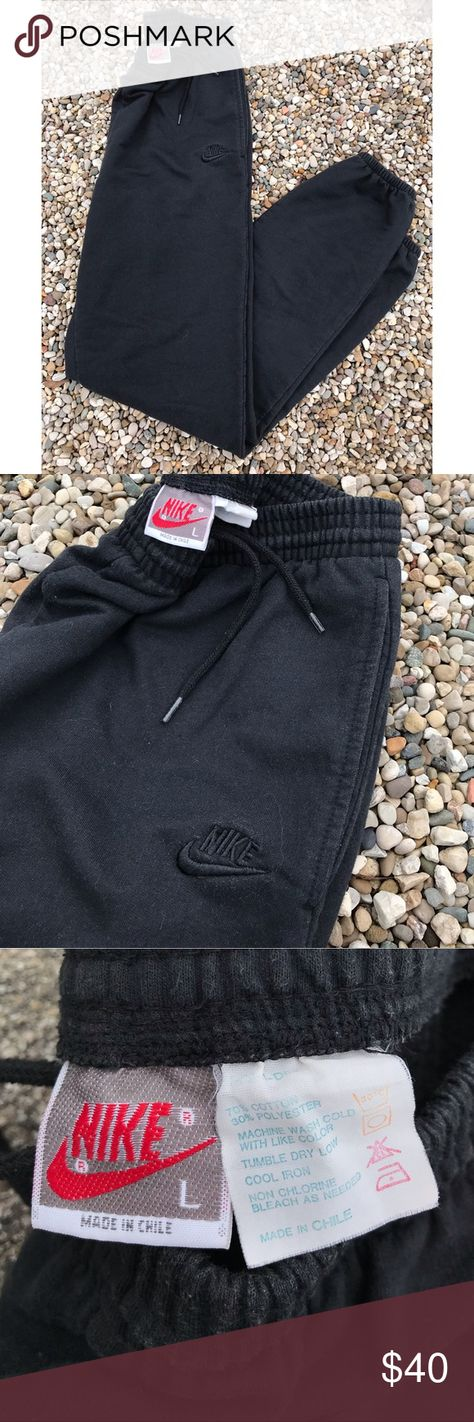 3dd5363a3 Vintage Nike Sweat Pants Size Large Vintage 90's Nike Grey Tag All Black  Tapered Sweat Pants