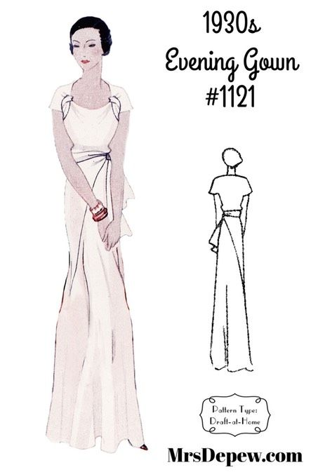 Vintage Sewing Pattern 1930s Evening Gown In Any Size 1121 Plus Size Included Instant Download Evening Gown Pattern Gown Pattern Vintage Style Wedding Gowns