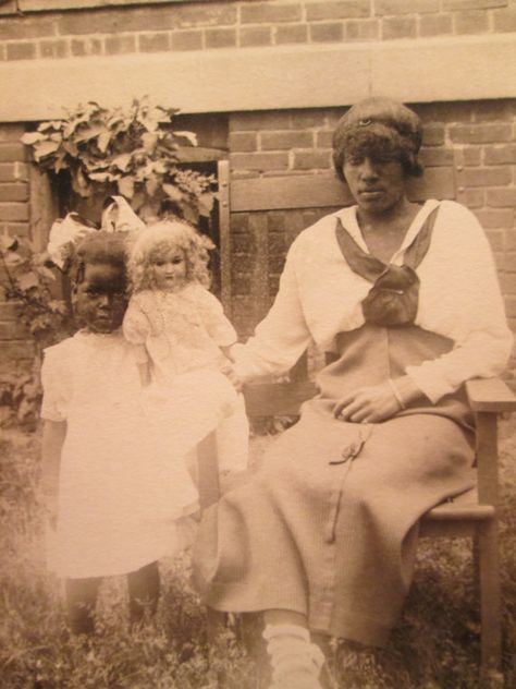 Real Photo Postcard African American Girl with her Blond  Doll - Mother and Child