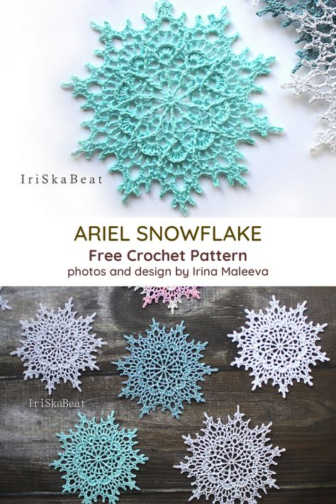 Ariel Snowflake Crochet Pattern - Knit And Crochet Daily Crochet Snowflake Pattern, Crochet Stars, Christmas Crochet Patterns, Crochet Motifs, Holiday Crochet, Crochet Snowflakes, Doily Patterns, Crochet Home, Thread Crochet