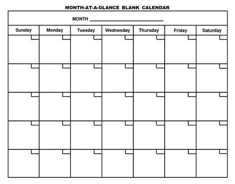 Free-Printable-Month-At-A-Glance-Blank-Calendar.Png (1506×1179