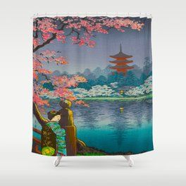 Tsuchiya Koitsu Cherry Blossom Pagoda Woman In Kimono Lake At Twilight Shower Curtain Shower Curtain Pagoda Curtains