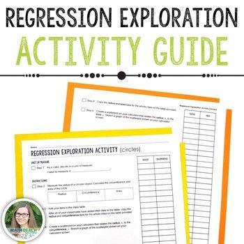 Regression Exploration Class Activity Guide Precalculus Activities Quadratics Algebra Worksheets