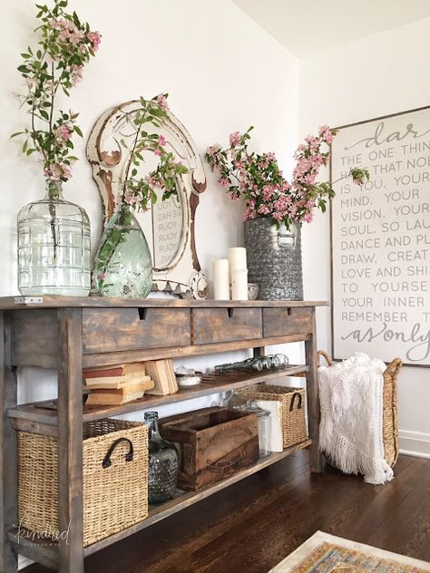 IKEA Norden sideboard makeover » Lolly Jane. Love the styling. Sofa table... stain