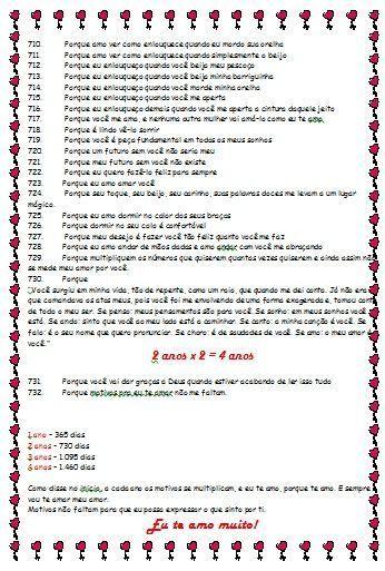 732 Motivos Para Te Amar Com Imagens Prendas Dia Dos Namorados