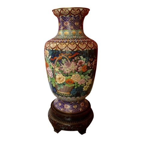 Chinese Cloisonne Blue Flower Basket