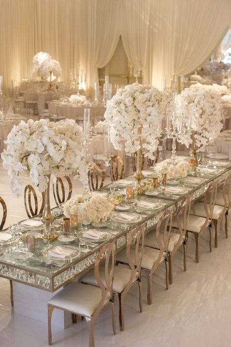 Bookmark these 100 + gold color palette ideas--gold and white elegant wedding reception table settings, wedding centerpieces, elegant wedding theme. All White Wedding, Floral Wedding, Wedding Colors, Wedding Flowers, Dream Wedding, Wedding Day, Luxury Wedding, Elegant Winter Wedding, Gold Wedding Theme