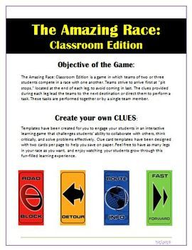 The Amazing Race Classroom Edition Create Your Own Clues Amazing Race Amazing Race Challenges Amazing Race Games