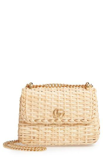11ac615758e6 Gucci Linea Cestino Glazed Wicker Mini Shoulder Bag   On-Trend ...