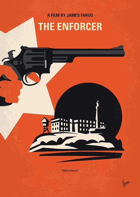 No1267-3 My Dirty Harry The Enforcer minimal movie poster by Chungkong Art