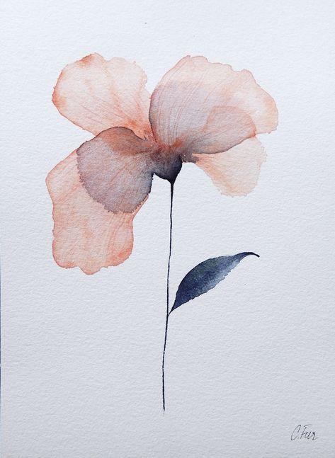 Watercolor flower on watercolor paper. 15x21 cm.