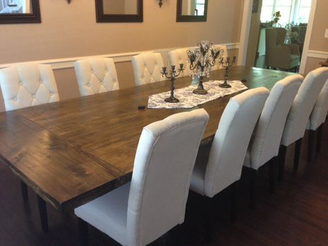 Large Dinning Room Table you can make.                                                       http://ourbarbiedreamhouse.blogspot.com/2013/09/diy-rustic-dining-room-table-reveal.html
