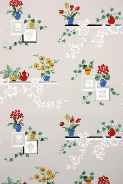 1940s Kitchen Vintage Wallpaper Kitchen Wallpaper Patterns