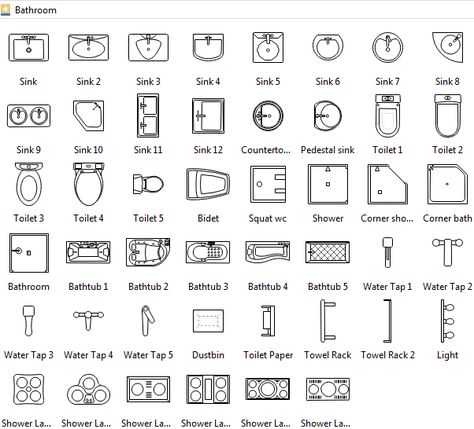 Bathroom Symbols Archi Plans Architecture Floor Plan Drawing