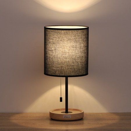 Haitral Contemporary Desk Lamp With Wooden Base Black Fabric Shade Metal Frame Walmart Com Wooden Table Lamps Vintage Table Lamp Bedroom Lamps Nightstand