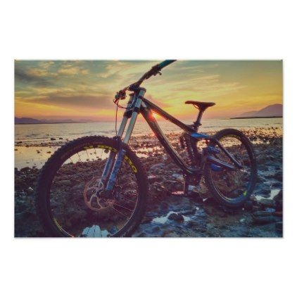 Bike Sky Sunset Poster Stones Diy Cyo Gift Idea Special