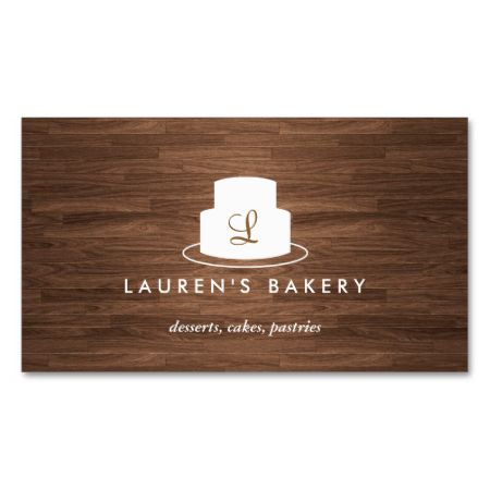 40 best baking themed business cards images on pinterest bakery cake monogram logo in white on brown woodgrain business card templates reheart Image collections