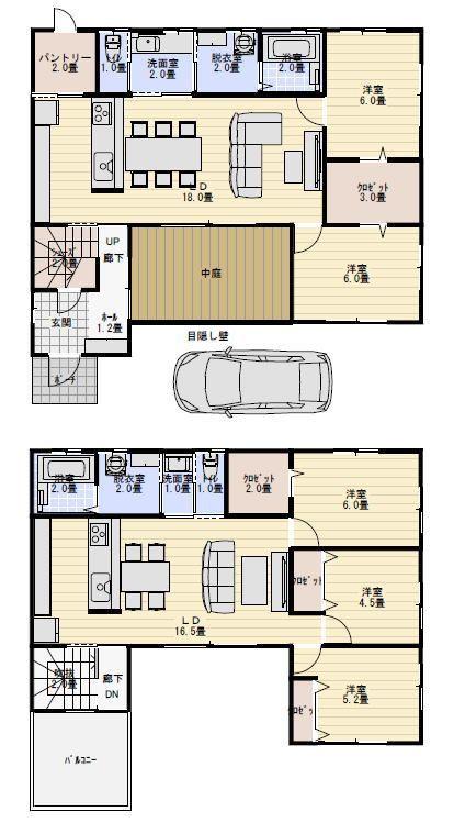 中庭のある二世帯住宅の間取り図 二世帯住宅間取り 二世帯住宅