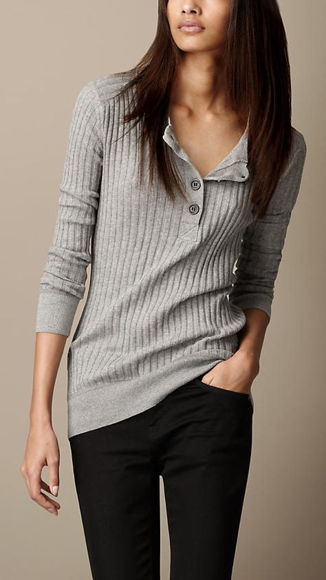 Ribbed Henley Top   Burberry