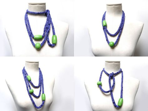 Knitted Necklace with Glass Beads  lavender blue cotton  by ixela, $32.00
