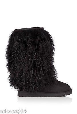 121574eb0f5 Details about Ugg Sheepskin Cuff Tall Mongolian Boots Black New BNIB ...