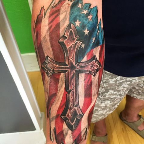 Cross with Flag Tattoo - Best American Flag Tattoos: Cool Patriotic US Flag Tattoo Designs and Ideas For Men country tattoo for men