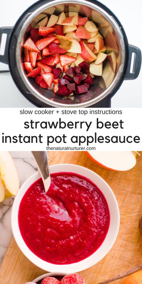 This easy Strawberry Beet Instant Pot Applesauce is delicious has no added sugar and gets its amazing color from beets! Kid-friendly and the perfect way to get veggies in at breakfast lunch snack or whenever! Lunch Snacks, Healthy Snacks, Healthy Eating, Healthy Recipes, Healthy Food To Lose Weight, Lunches, Baby Food Recipes, Kid Recipes, Veggie Recipes