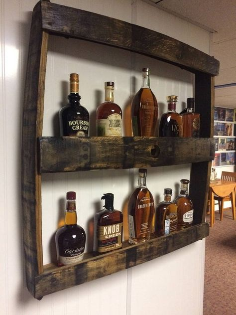 man cave Bourbon Bottle Display Rack made from oak barrel staves and other recycled wood. Holds many bottles including very tall bottles. Local pickup or delivery. Shipping outside of the Lou Man Cave Garage, Man Cave Basement, Rustic Basement Bar, Man Cave Shed, Garage Bar, Man Cave Room, Man Cave Diy, Rustic Man Cave, Man Cave Crafts