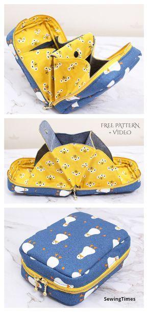 Diy Bags Patterns, Purse Patterns Free, Bag Pattern Free, Pouch Pattern, Pocket Pattern, Diy Wallet Pattern Free, Bag Sewing Patterns, Sew Wallet, Fabric Wallet