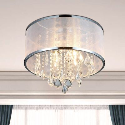 4 Head Fabric Flush Mount Light Simple Chrome Drum Bedroom Ceiling Lamp With Clear Crystal Drop In 2020 Ceiling Lamps Bedroom Crystal Lighting Ceiling Lamp