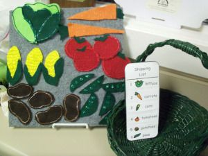 """flannel board on farmers market that integrates counting out of veggies.  Includes """"shopping lists"""" that you can print out and place with the activity as passive programming. Unfortunately, no template for the flannel veggies here, but good description of a garden storytime."""