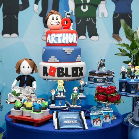pastel para fiesta tematica de roblox para niños Narozeninová Party Lego, Narozeninové Party