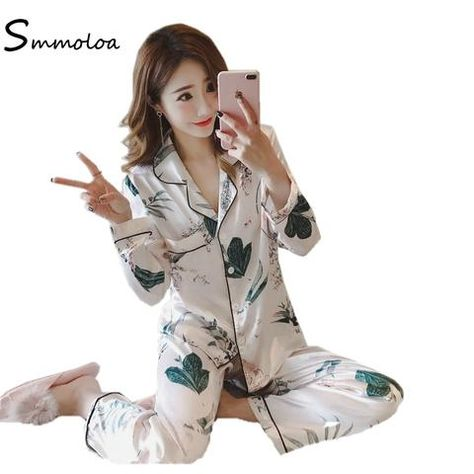 9dc6009a3a Hankyky Womens Pajamas 3PCs Suit Silk Satin Dragon Print Pajamas Set  Sleepwear
