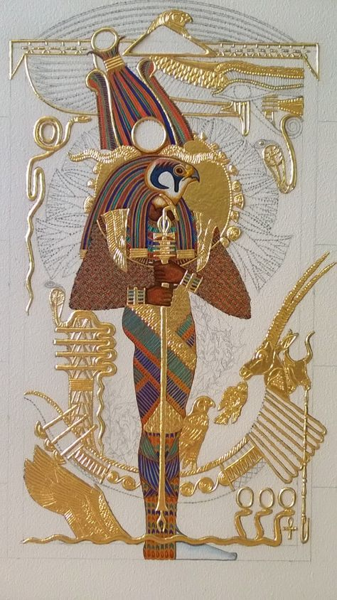 """A God In All His Colors The completed color (sans touch-ups) of the God Ptah-Sokar-Ausir on the icon panel of """"Ptah-Sokar-Ausir""""~ an original Kemetic icon by master iconographer Ptahmassu Nofra-Uaa/ Panel 1 of The Sacred West Triptych Egyptian Mythology, Egyptian Goddess, Egyptian Symbols, Egyptian Art, Egyptian Pyramid, Ancient Egypt History, Ancient Aliens, Ancient Greece, Kaleidoscope Art"""