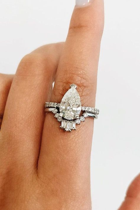 45 Great Bands And Wedding Rings For Women That Admire ❤ wedding rings for women pear cut diamond unique band #weddingforward #wedding #bride