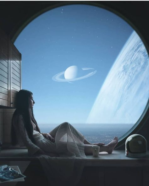 Having my morning coffee and thinking about the universe and life itself. Artwork from Check out his page and buy his Art! Arte Sci Fi, Sci Fi Art, Interstellar, Space Photography, Science Fiction Art, Anime Scenery, Aesthetic Backgrounds, Space Travel, Anime Art Girl