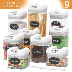 Homegwarts Airtight 9 Piece Set Food Storage Containers Airtight Food Storage Containers Food Storage Container Set Airtight Food Storage