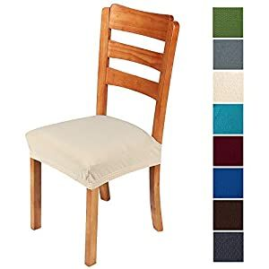 Stretch Dining Room Chair Seat Covers 4 Pack With Elastic Ties And Button Waterproof Removable Washable Jacquard Anti Dust In 2020 Seat Covers For Chairs Dining Chair Seat Covers Dining Chair Covers