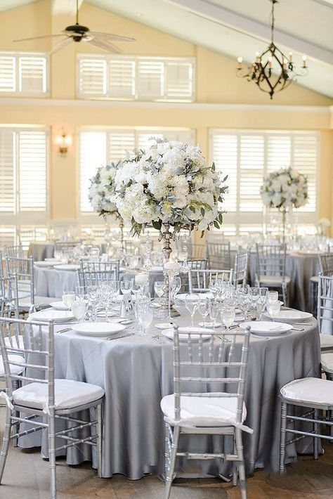 Trendy Wedding Colors 2019 ❤ wedding colors 2019 silver sage tablecloth tall white flower centerpiece luminairefoto wedding decorations The Best Wedding Color Ideas For 2020