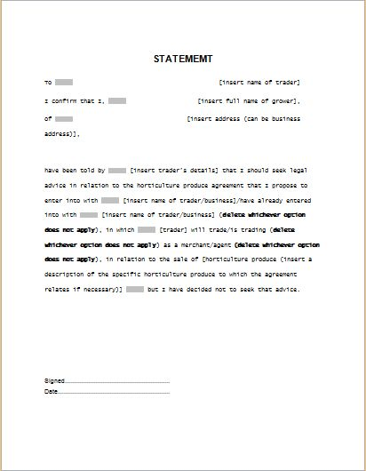 statement of service template