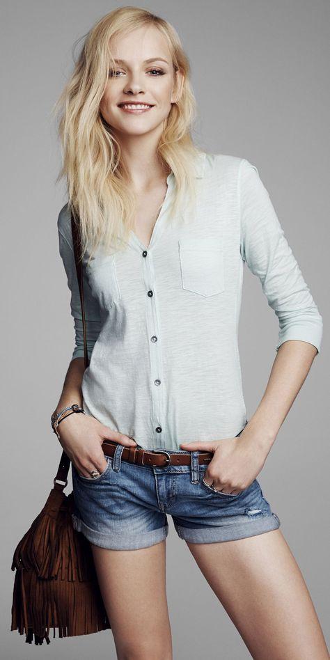 Go casual with a slub knit shirt, denim shorts and a fringe detailed bag. #Express #fashion