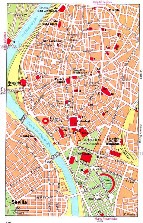 Sevilla Central Map Tourist Attractions Spain Barcelona