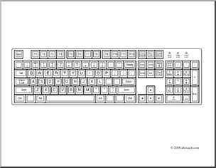 Clip Art Computer Keyboard Coloring Page I Abcteach Com Large