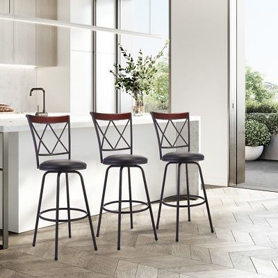 Set Of 3 Swivel Counter Height Adjustable Bar Stools Modern Barstool Pub Chair Affilink Barstools Bar Stools